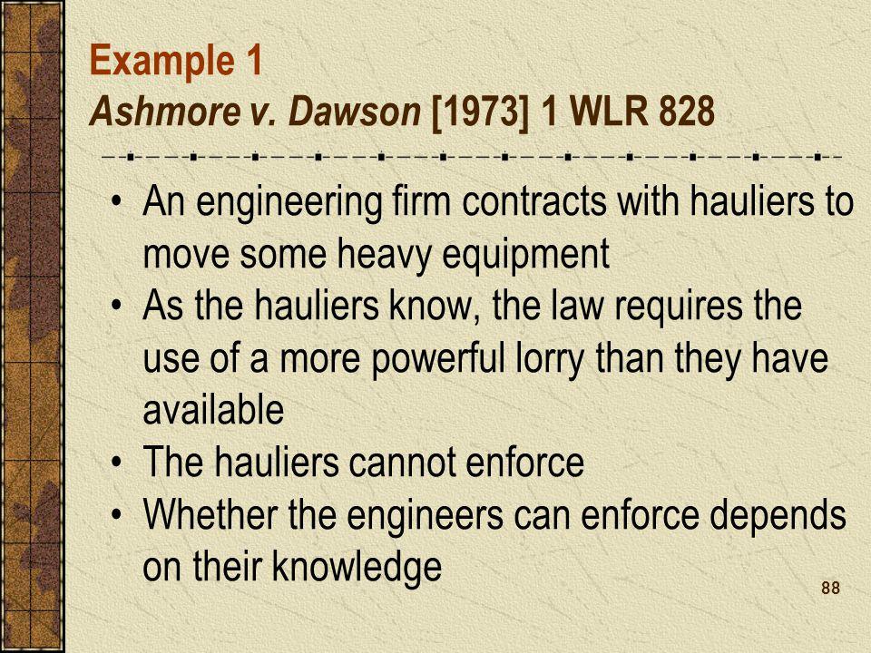 Example 1 Ashmore v. Dawson [1973] 1 WLR 828